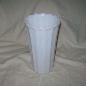 Vintage Ribbed White Milk Glass Vase